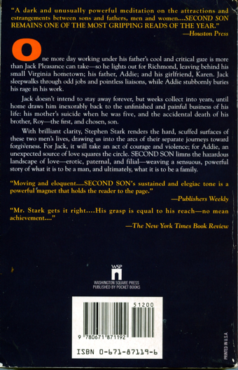Second Son, back cover, paperback